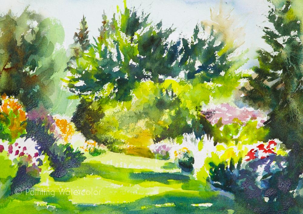 Garden Path Painting Tutorial Watercolor Painting Tutorial 7