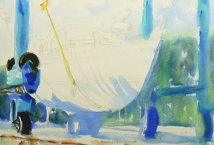 Hinckley Boatyard Watercolor Painting Lesson 2