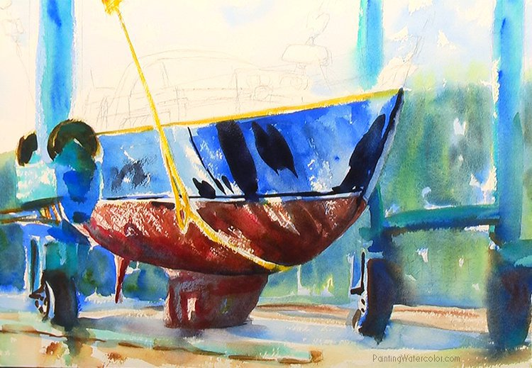 Hinckley Boatyard Watercolor Painting Tutorial 6