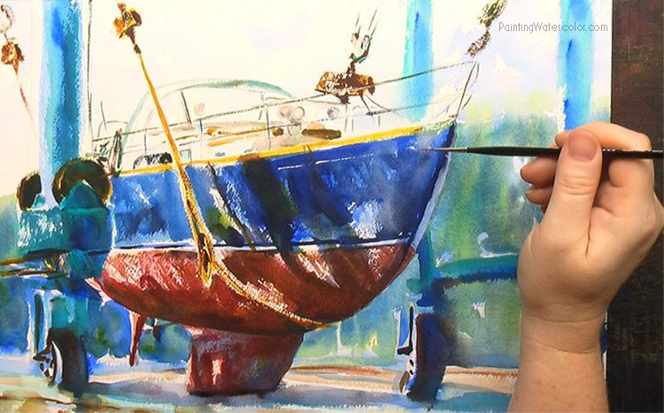 Hinckley Boatyard Watercolor Painting Tutorial 7