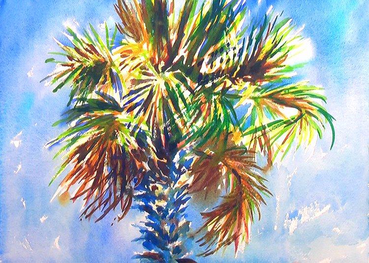 Charleston Palm Tree Watercolor Painting Tutorial 6