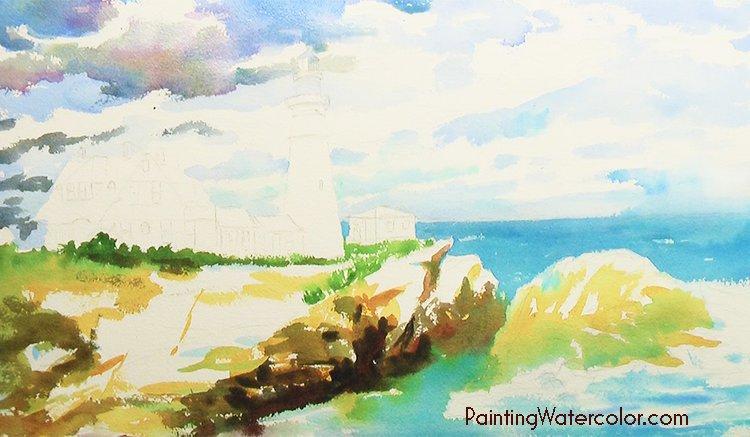 Portland Head Lighthouse Painting Tutorial 3