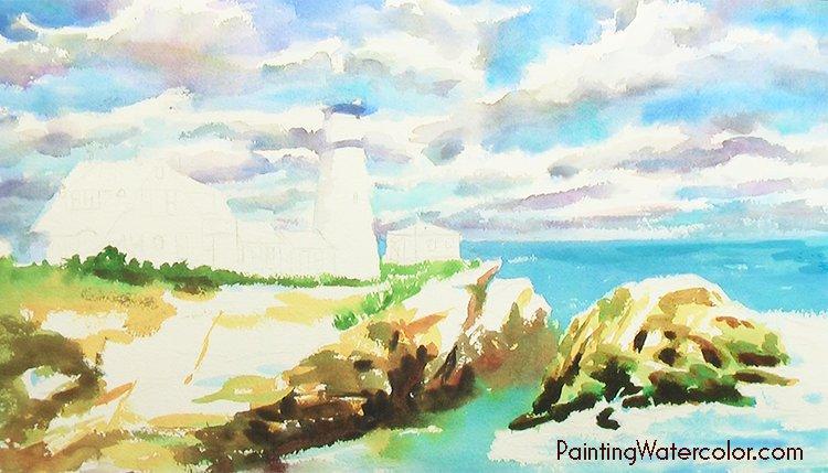 Portland Head Lighthouse Painting Tutorial 4