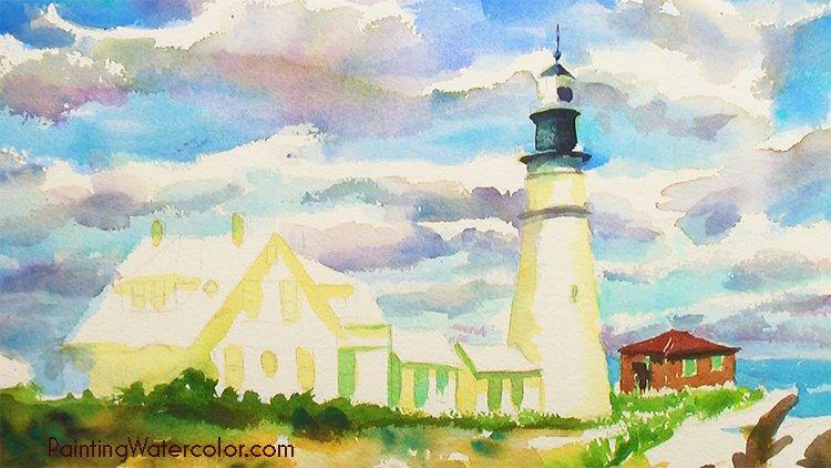 Portland Head Lighthouse Painting Tutorial 5