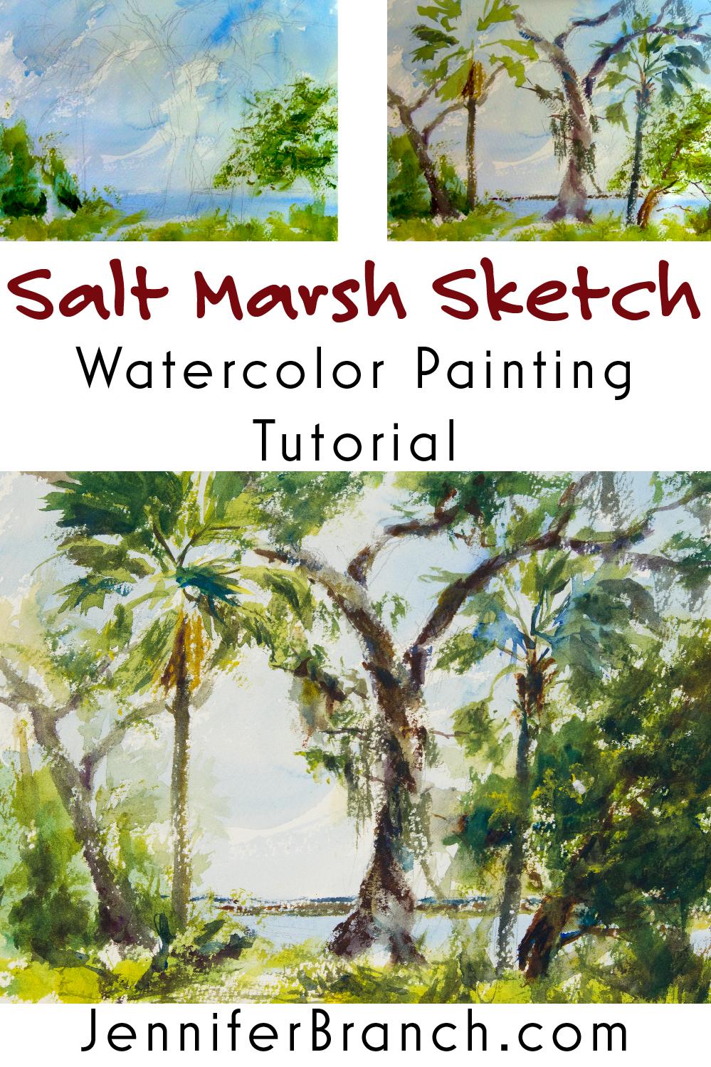 Salt Marsh Sketch Tutorial watercolor painting tutorial by Jennifer Branch