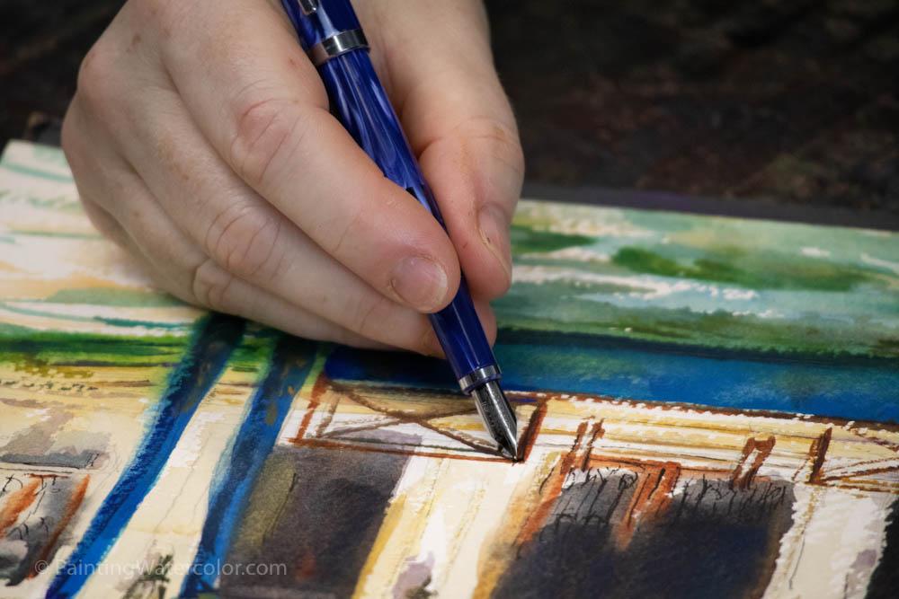 Fountain Pen Sketching Watercolor Painting tutorial