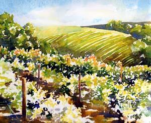 Sonoma Vineyard Watercolor Painting Tutorial 6