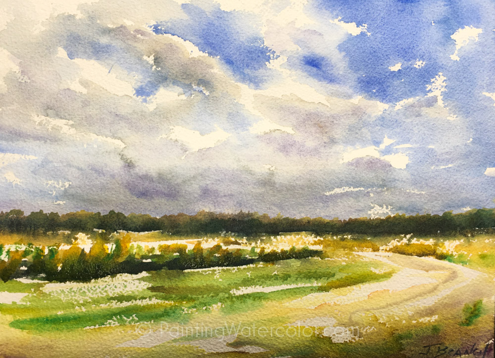 Field and Sky Watercolor Sketch by Jennifer Branch