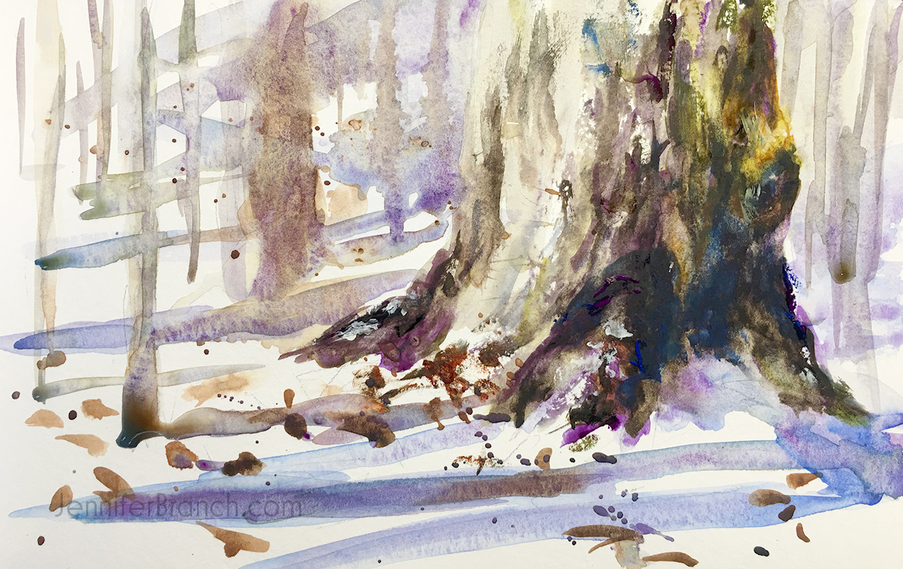 Snow Tree Sketch Watercolor Painting tutorial