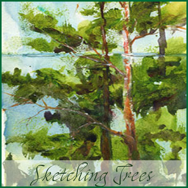 Trees sketch before sunset on Moleskine watercolor journal.