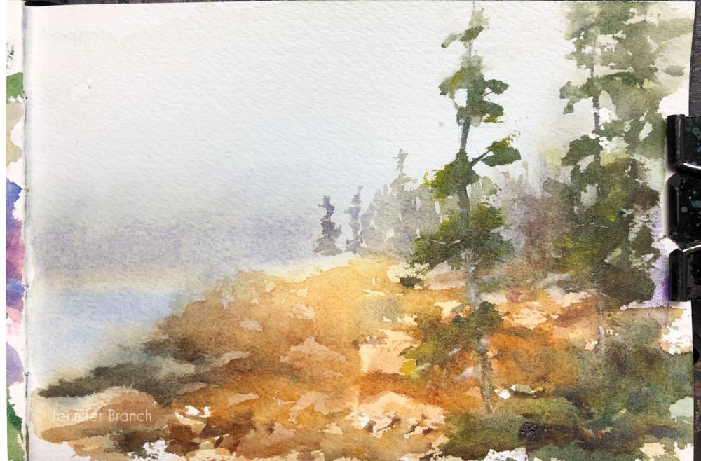 Sketch of fog at Ships Harbor, Acadia National Park by Jennifer Branch