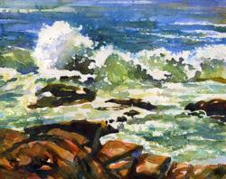 Ocean surf in Acadia National Park watercolor painting