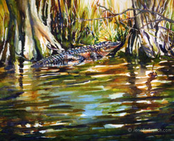 alligator watercolor painting Florida Everglades
