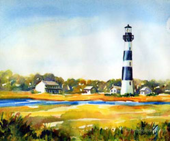 Bodie Island lighthouse watercolor painting
