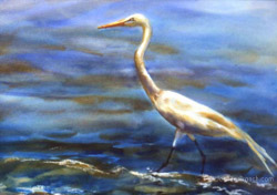 Egret watercolor painting