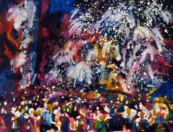 Painting of fireworks exploding in a night sky.