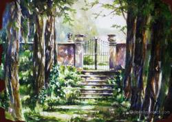 Italian villa watercolor painting