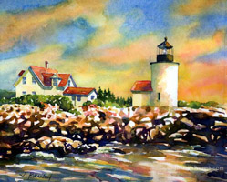 Goat Island Lighthouse painting