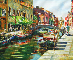 Venice produce boat painting