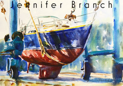 Hinckley Boatyard watercolor painting by Jennifer Branch