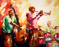 jazz trio watercolor painting