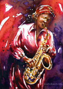 jazz saxophone watercolor painting