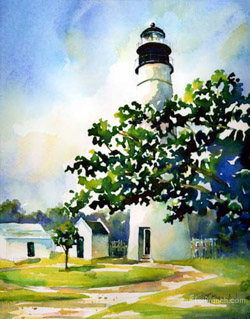 Key West Lighthouse watercolor painting