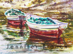 Watercolor painting of dories on Maine.