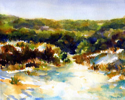 Beach Path watercolor painting