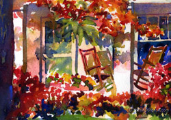 Watercolor painting Rocking chairs on the porch