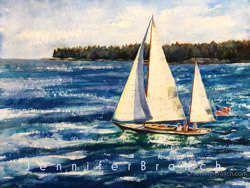 Sailboat flying an American flag watercolor painting.