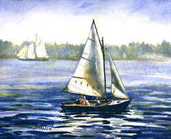 watercolor painting of a Herreshoff 12 1/2 sailboat in Maine, wooden boat