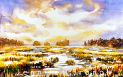 daybreak over a salt marsh watercolor painting