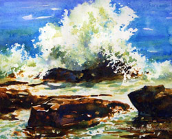 Crashing surf in this lovely watercolor painting of the Maine coast.