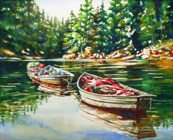 boats watercolor painting