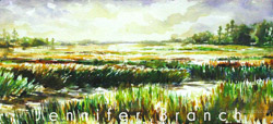 storm coming over salt marsh watercolor painting