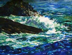 ocean surf vernazza italy watercolor painting