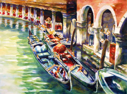 Three Gondolas watercolor painting
