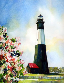 Tybee island lighthouse oleander watercolor painting
