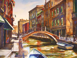 Venice Bridge watercolor painting
