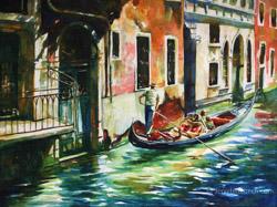 venice gondola painting