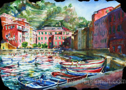 Vernazza Harbor Watercolor painting