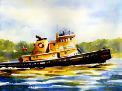 tugboat watercolor painting