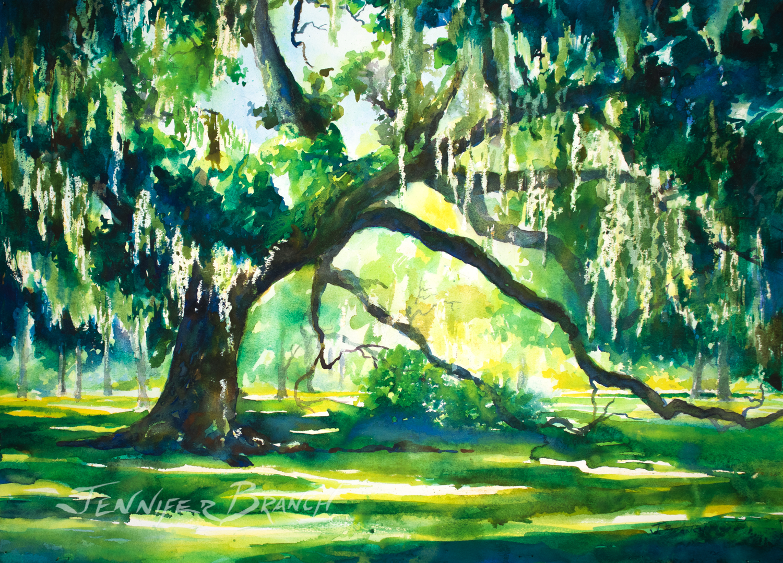 live oak watercolor painting