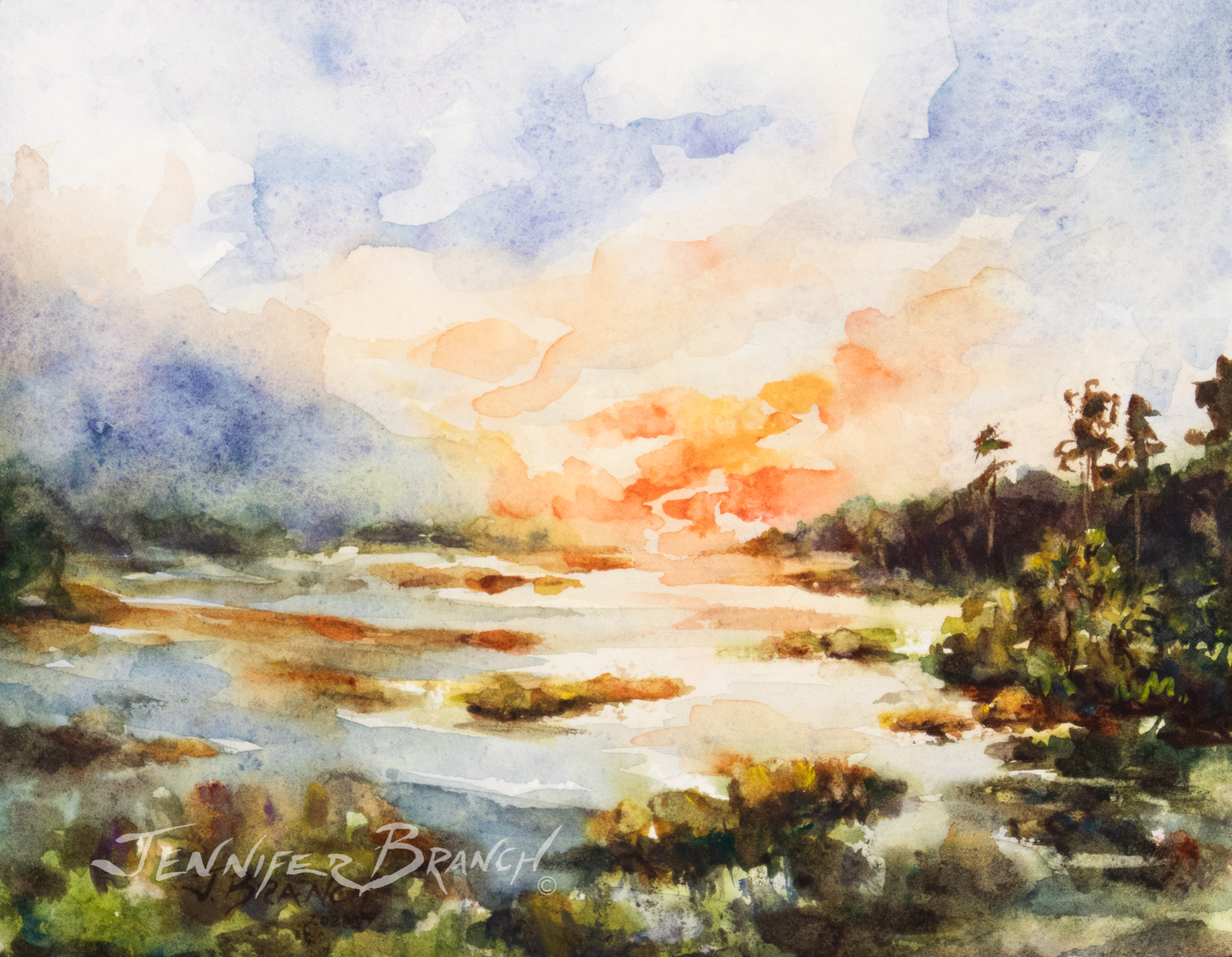 Painting of a perfect sunset on a salt marsh.