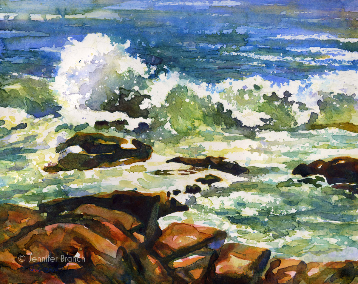 Ocean surf in Acadia National Park watercolor painting by Jennifer Branch.