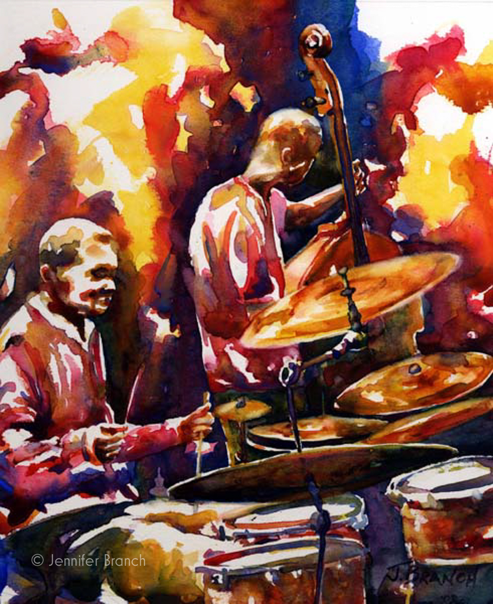 Jazz drums watercolor painting