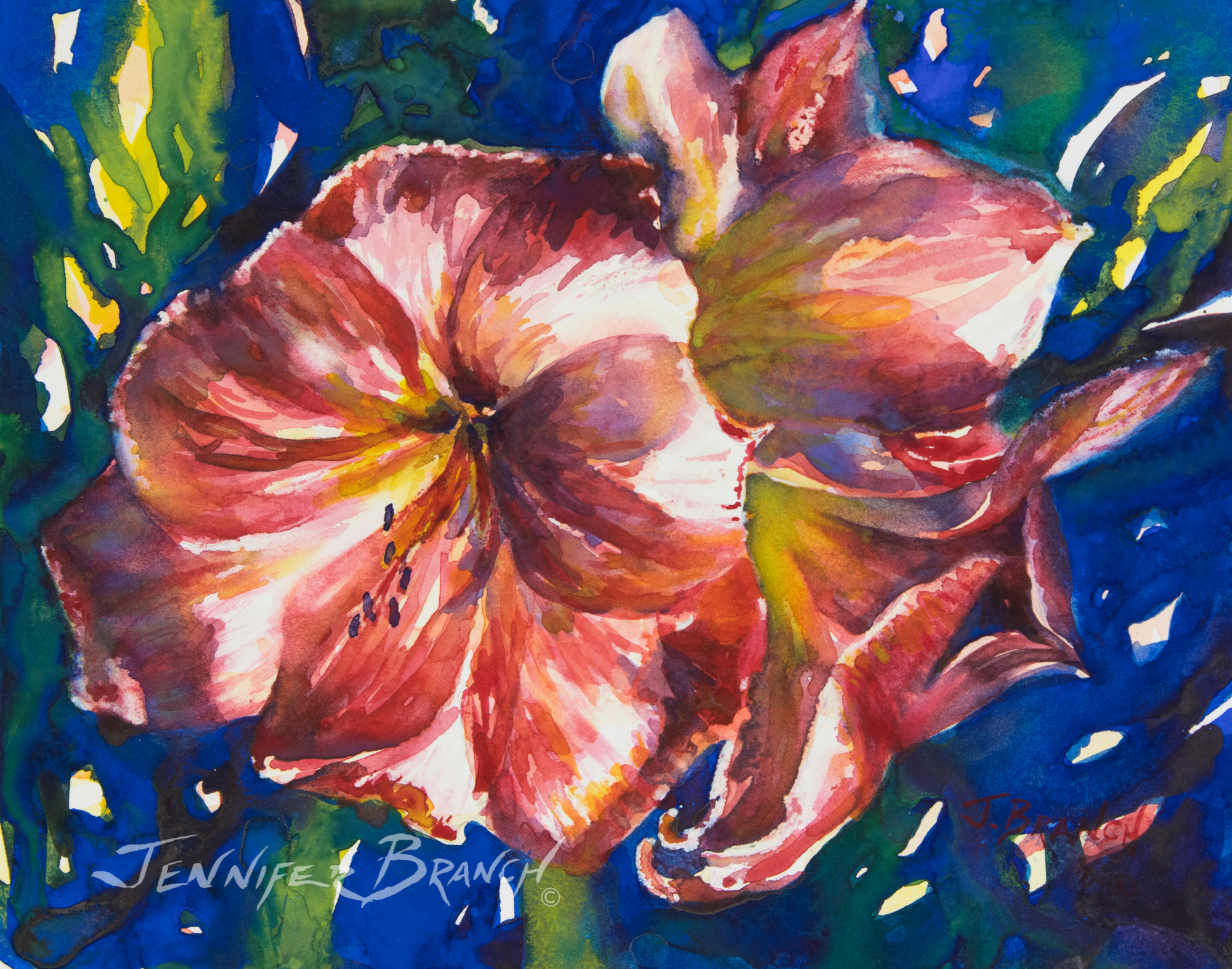 Amaryllis watercolor painting