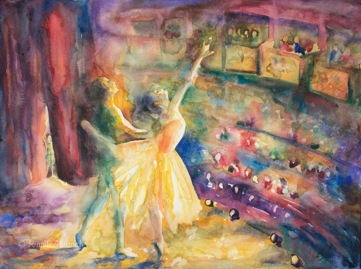 Ballet painting with a young dancer waiting in the wings for her big moment.