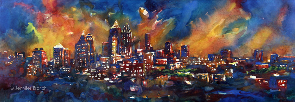 atlanta skyline painting